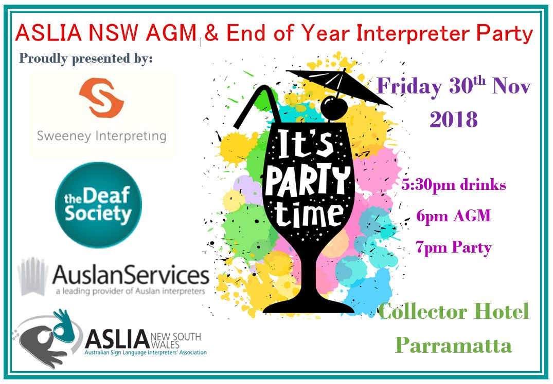 NSW ASLIA AGM and End of Year Interpreter Party