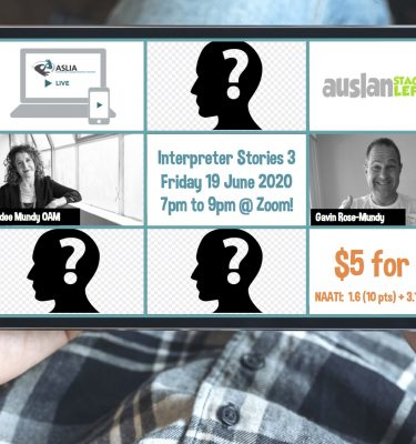 Web conference gridview with pictures of 3 unknown, Jodee Mundy, Gavin Rose-Mundy, Auslan Stage Left logo, ASLIA Live logo and $5 for all