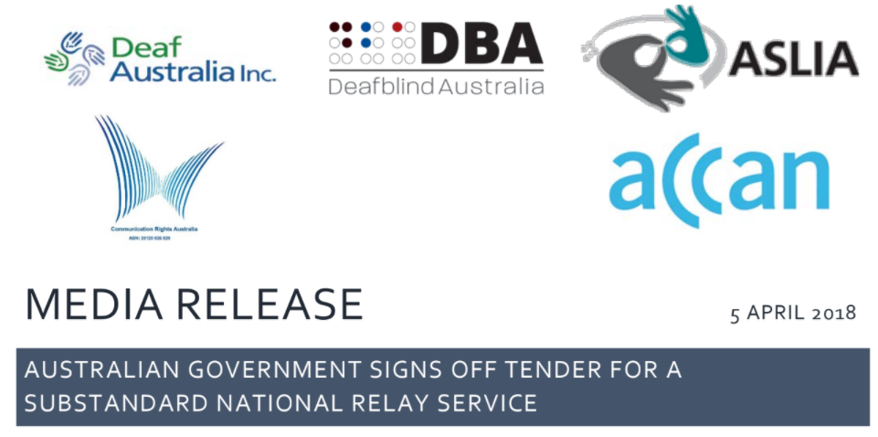 Media Release – Australian Government signs off tender for a substandard National Relay Service