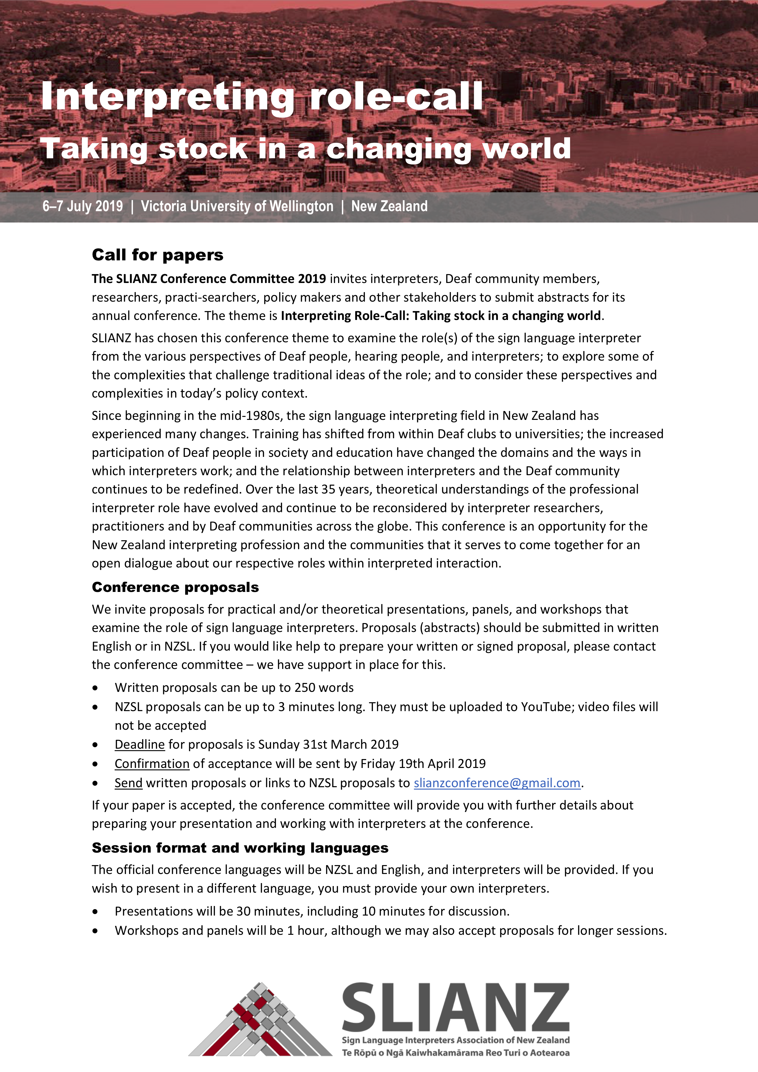 Call for Papers: SLIANZ Conference, 6-7 July 2019,  Wellington NZ