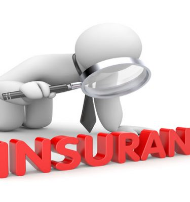 White cartoon figure looking at the word insurance with a magnifying glass