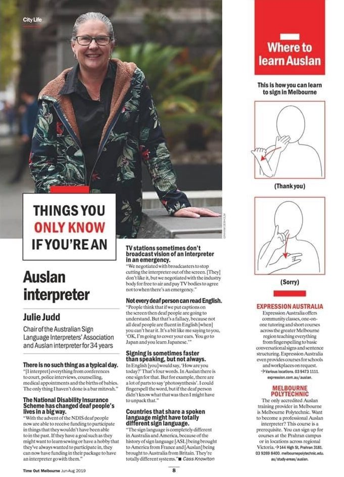 Have you seen your ASLIA Chairperson in Time Out Melbourne?